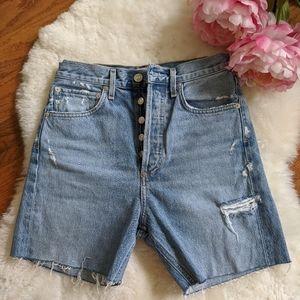Agolde cut off distressed jean denim shorts